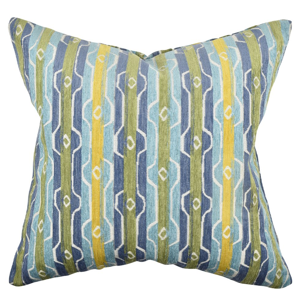 Vesper Lane st02orz18i Distressed Striped Throw枕 18 Inch SP18MCZ18I B075NG45JY Blue and Green Modern Stripe Throw Pillow-18\ 18 Inch