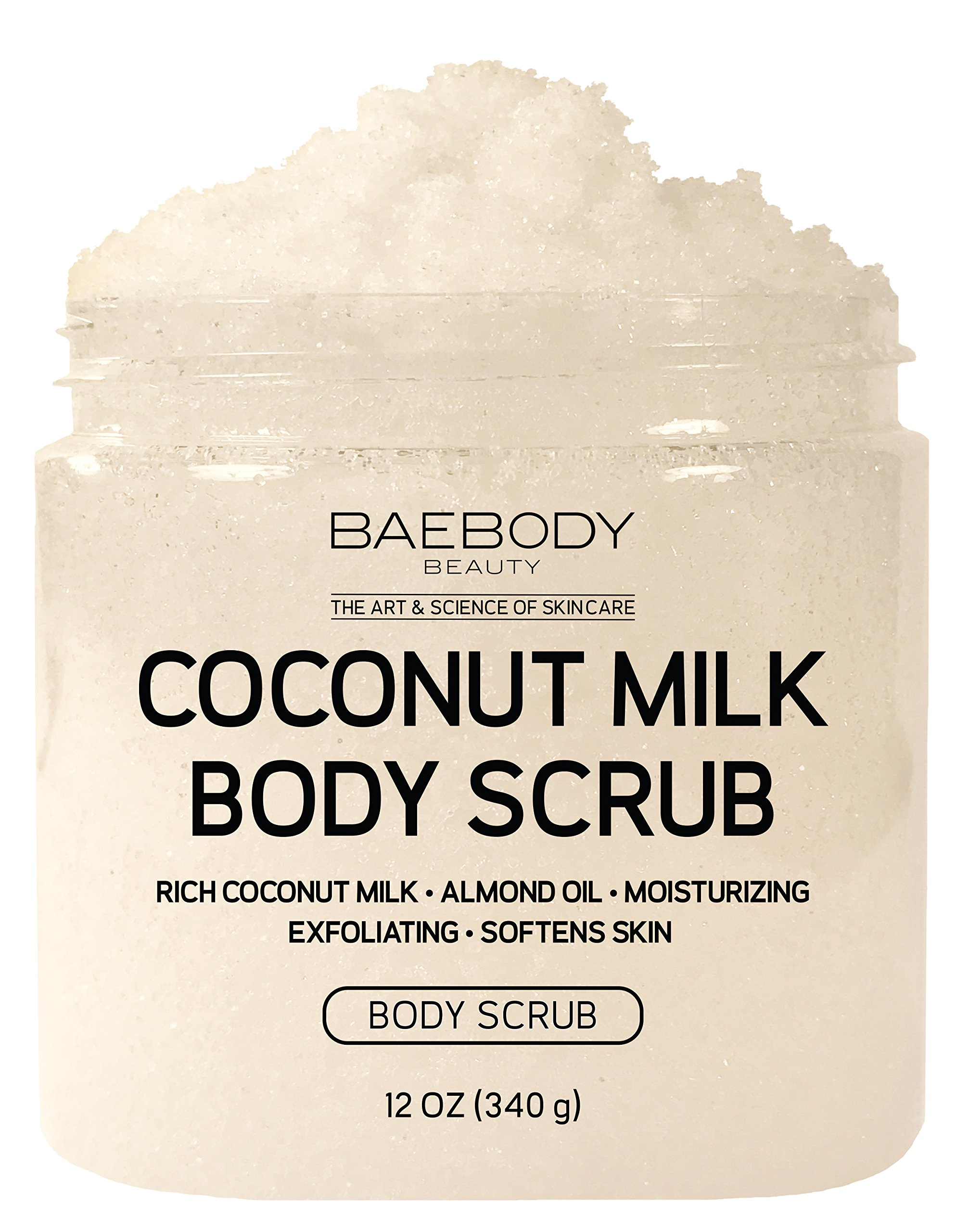 Baebody Coconut Milk Body Scrub: With Dead Sea Salt, Almond Oil, and Vitamin E. – Exfoliator, Moisturizer Promoting Radiant Skin 12oz.