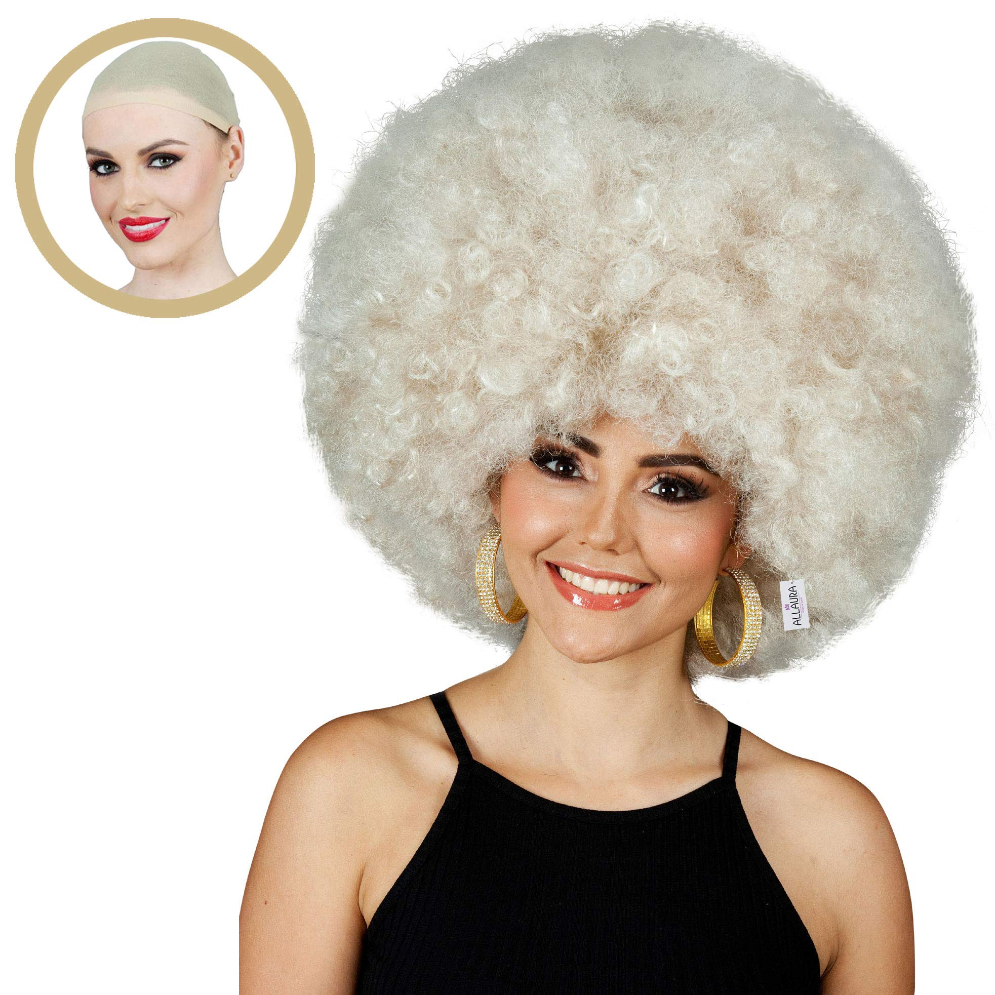ALLAURA 60s and 70s Jumbo Afro Wig for Women! Big Blonde Short Curly Disco Costume Wigs