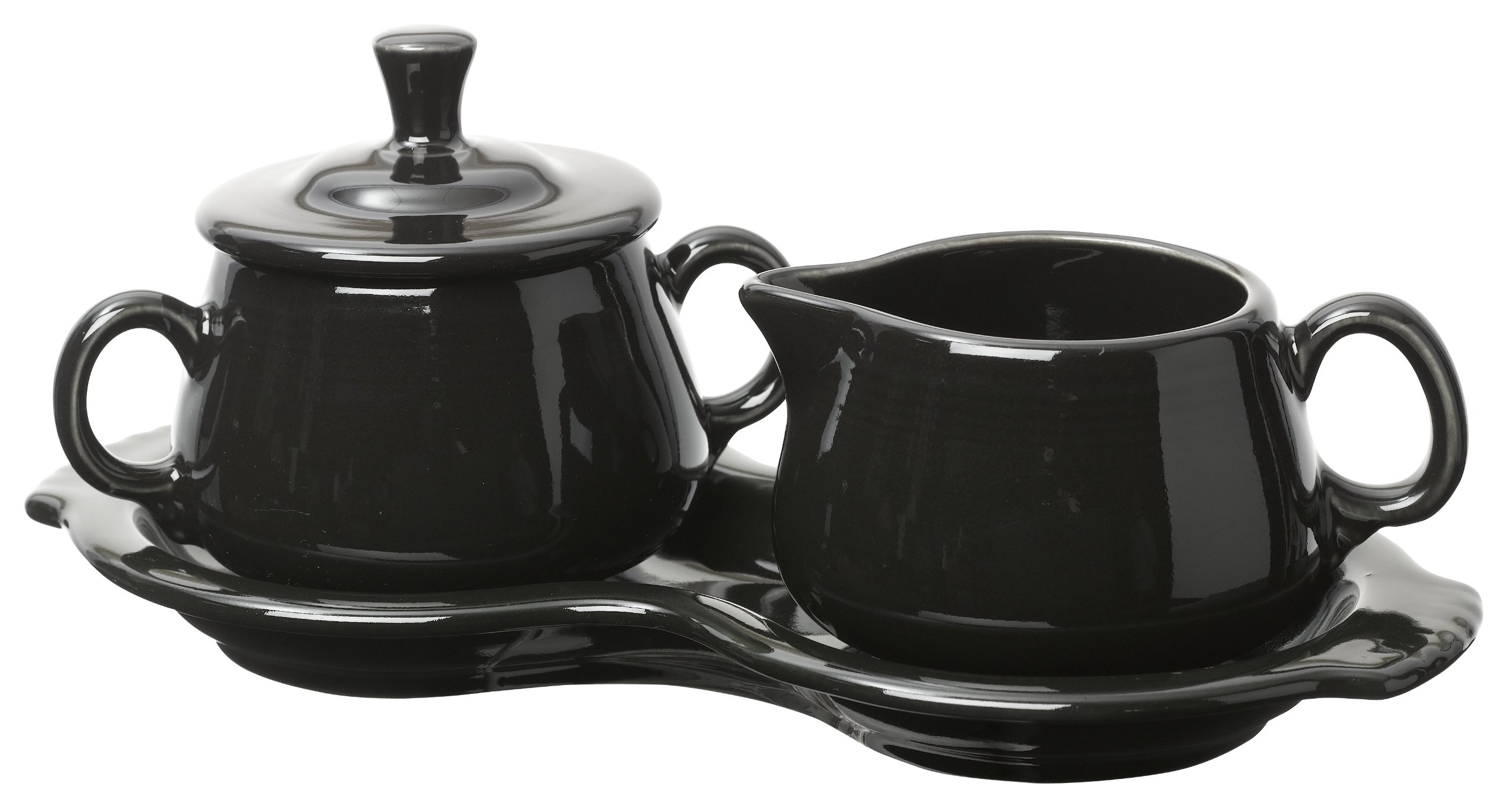 Fiesta Covered Creamer and Sugar Set with Tray, Black