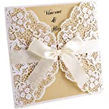 10pcs Faire-Part Cartes d'Invitation de Mariage ajouré Blanc Carte de voeux + Enveloppe