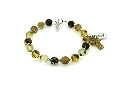 b35fa1746 Amazon.com: Genuine Green Amber Strand Bracelet with Amber Cross and ...