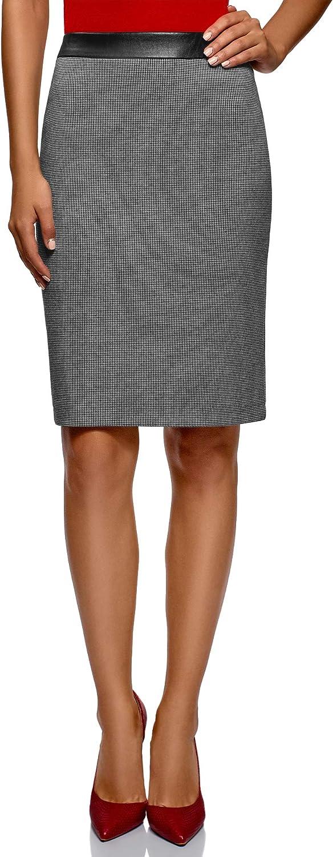 oodji Collection Mujer Falda de Jacquard con Cintura de Piel Sintética
