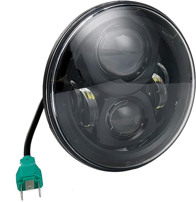 color negro YaeTek luz diurna faro delantero Faro LED de 7 pulgadas para Harley Davidson HID LED proyector de motocicleta