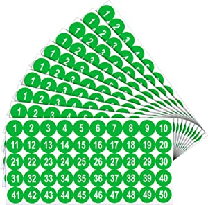 10 Sheets 1 to 50 Number Stickers Vinyl Consecutive Number Stickers 1 Inch Self-Adhesive Decal for Indoor and Outdoor Waterproof Labels Number Inventory Stickers for Inventory Classification (Green)