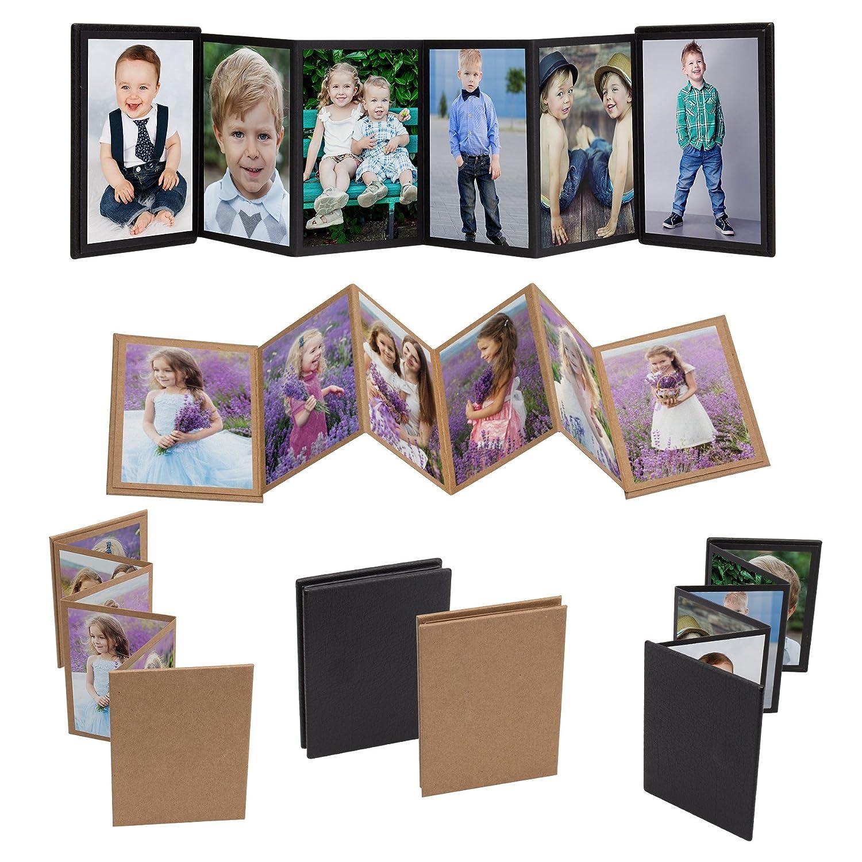 1, Black Neil Enterprises Inc 2.5x3.5 Mini Accordion Self-Stick Photo Album