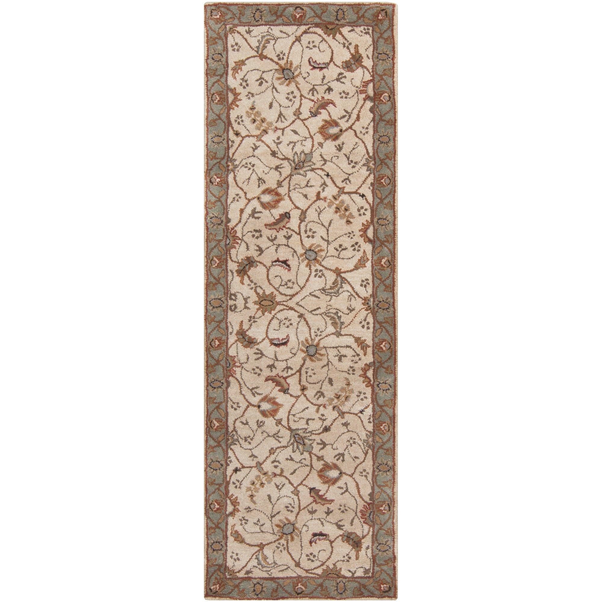 Surya Caesar CAE-1088 Classic Hand Tufted 100% Wool Dark Olive Green 2'6'' x 8' Traditional Runner