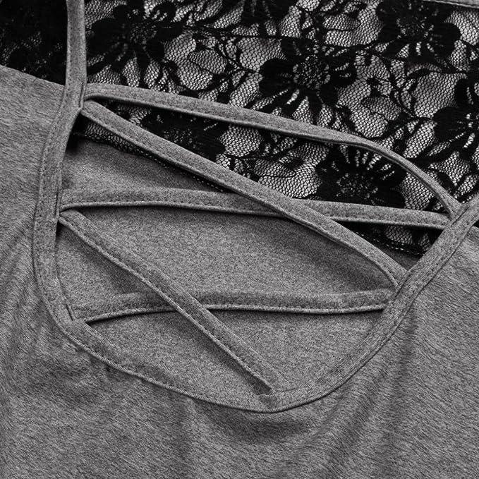 ❤ Camiseta de Gran tamaño de Las Mujeres, Manga Larga del Remiendo del cordón de Las señoras Remata la Manga Larga del cordón de la Blusa Tallas Grandes ...