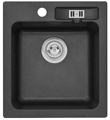 Granite Sink Sydney Kitchen Sink 45 cm Sink black: Amazon.co.uk ...