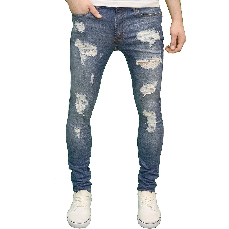526Jeanswear Razor Mens Stretch Super Skinny Ripped Distressed Jeans