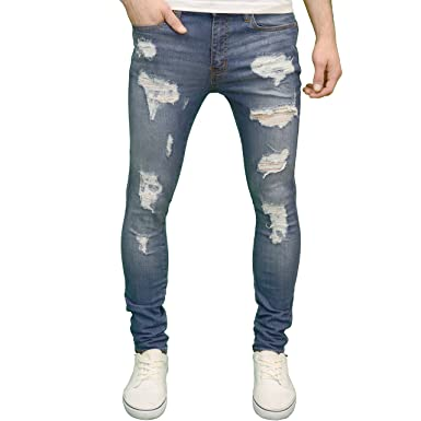 1a60784d07bb 526 Mens Designer Stretch Super Skinny Ripped Distressed Jeans at Amazon Men's  Clothing store: