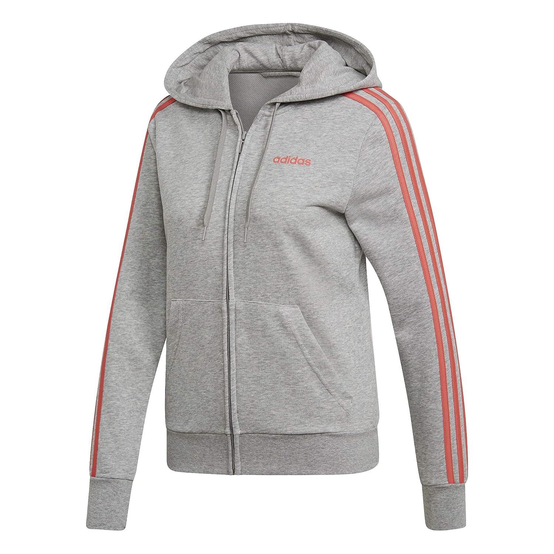 bac8830776945f Adidas Essentials 3Stripes Full Zip Hoodie, Felpa con Cappuccio Donna,  Medium grigio Heather Prism