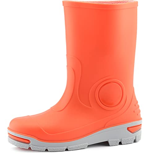 Ladeheid Botas de Agua Goma Zapatos de Seguridad Unisex Niños LARB012(Naranja, 21/