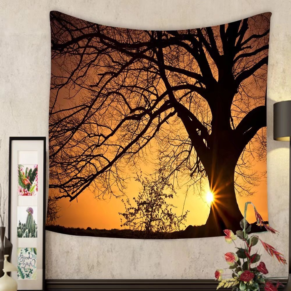 Grace Little Custom tapestry silhouette of a willow tree with the sun behind the tree