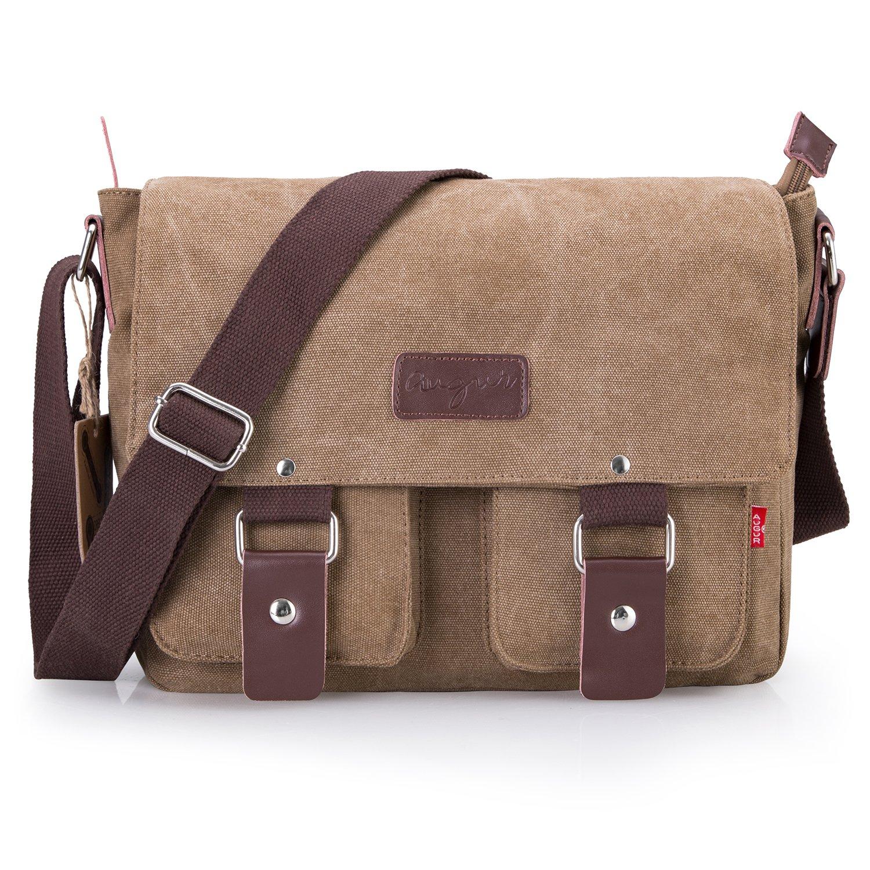 d67136886c6 Bienna Vintage Canvas Messenger Bag Satchel Laptop Over Shoulder Crossbody  Side Bags with Zipper for Men Women School Outdoor Sports EDC 13