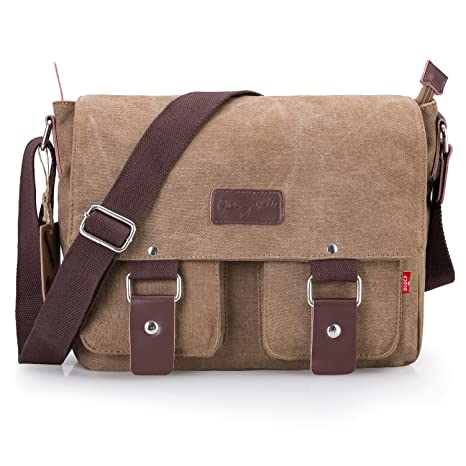 f3d51cd087de Bienna Vintage Canvas Messenger Bag Satchel Laptop Over Shoulder Crossbody  Side Bags with Zipper for Men Women School Outdoor Sports EDC 13