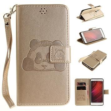 Coque pour Xiaomi Redmi Note 4,Housse en cuir pour Xiaomi Redmi Note 4,Ecoway Panda gaufrage en cuir PU Cuir Flip Magnétique Portefeuille Etui Housse ...