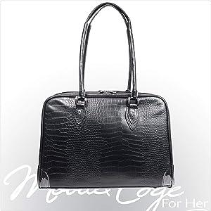 Mobile Edge Women's Black, Milano 15.4 Inch Business Laptop Handbag Faux Croc, Soft Poly-Suede Lining Protection, MEMC1S