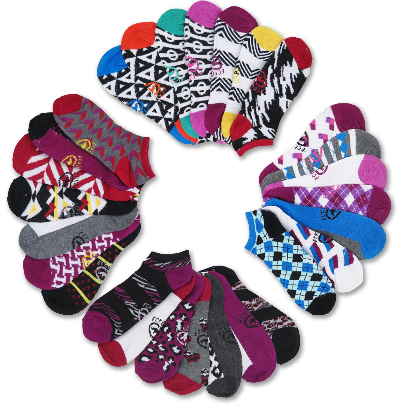 Ecko Red Women's Fun Print Low Cut Ankle Socks (28 Pack) (Style #2)