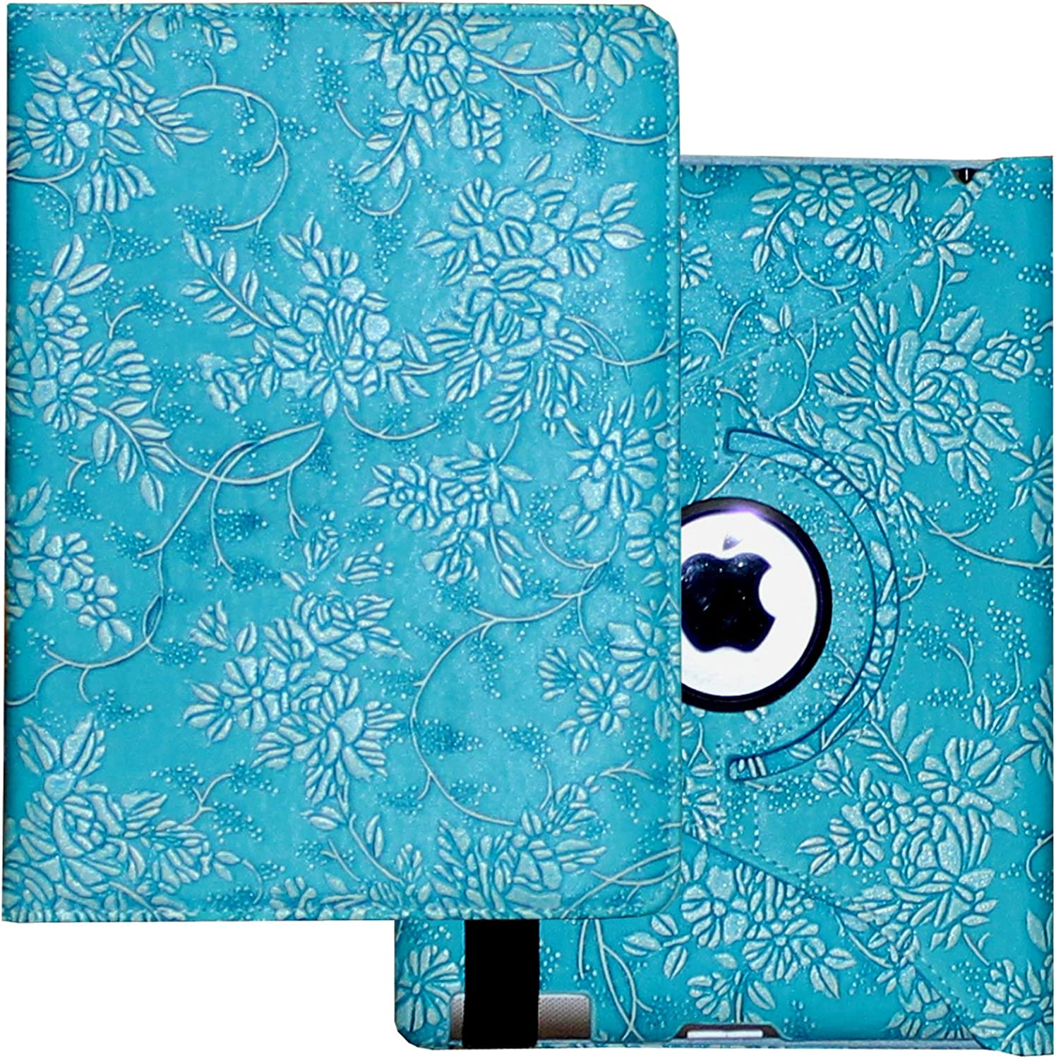 Lingsor Case for iPad 2nd 3rd 4th Generation, Fit Model A1395 A1396 A1397 A1416 A1430 A1403 A1458 A1459 A1460 Smart Cover Case Rotating Stand Support Wake up Sleep, Embossed Blue Flower