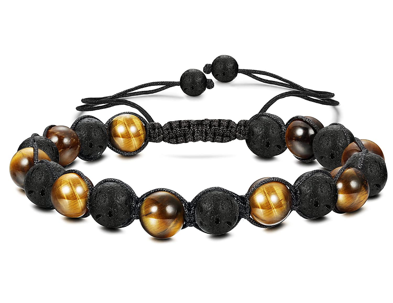 Besteel Stone Beads Bracelet Handmade for Men Women Braided Bracelets Turquoise Stone Tiger Eye Relationship, Adjustable Adjustable yellow B056-YE