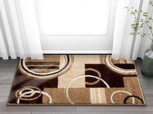 Doormat Ruby Kitchen Bathroom Soft Durable Accent Rug Small Carpet Scatter Entry Mat Easy to Clean Modern Woven Hearth Mat Ivory 1 8 x 2 7