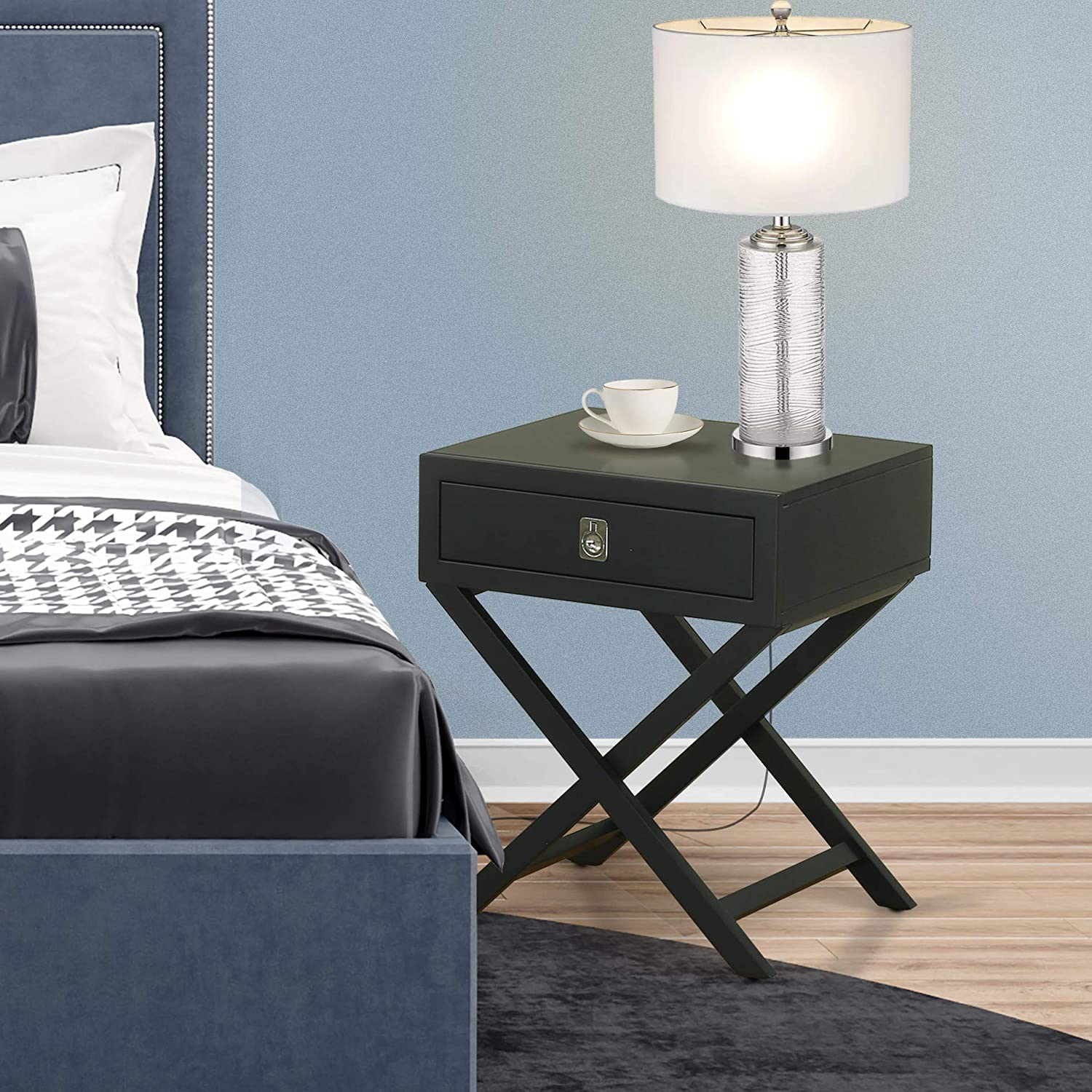 East West Furniture One Pc Gorgeous Hamilton Small Black Rectangular Table with Drawer, 1-Pack, Finish