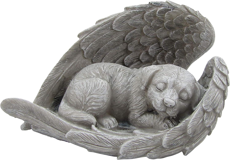 Comfy Hour Resin Dog Sleeping in Angel Wing Pet Statue - in Memory of My Best Friend Bereavement