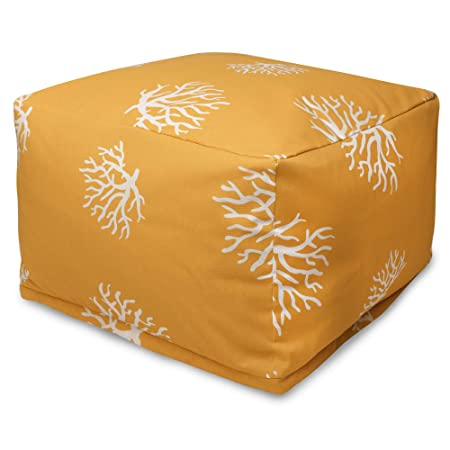 Majestic Home Goods Yellow Coral Ottoman, Large