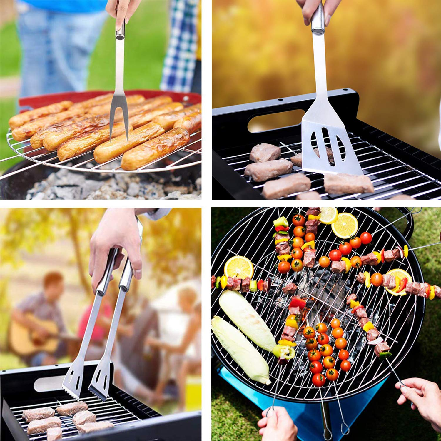 Ideal Gift on Birthday Wedding KCZAZY 7pcs BBQ Grill Accessories Set Heavy Duty Stainless Steel Grilling Utensils with Non-Slip Handle in Aluminum
