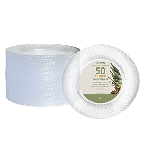 50 Premium Clear Plastic Plates for Dinner Party or Wedding - 10 Inch Fancy Disposable Plastics  sc 1 st  Amazon.com & Amazon.com: 50 Premium Clear Plastic Plates for Dinner Party or ...