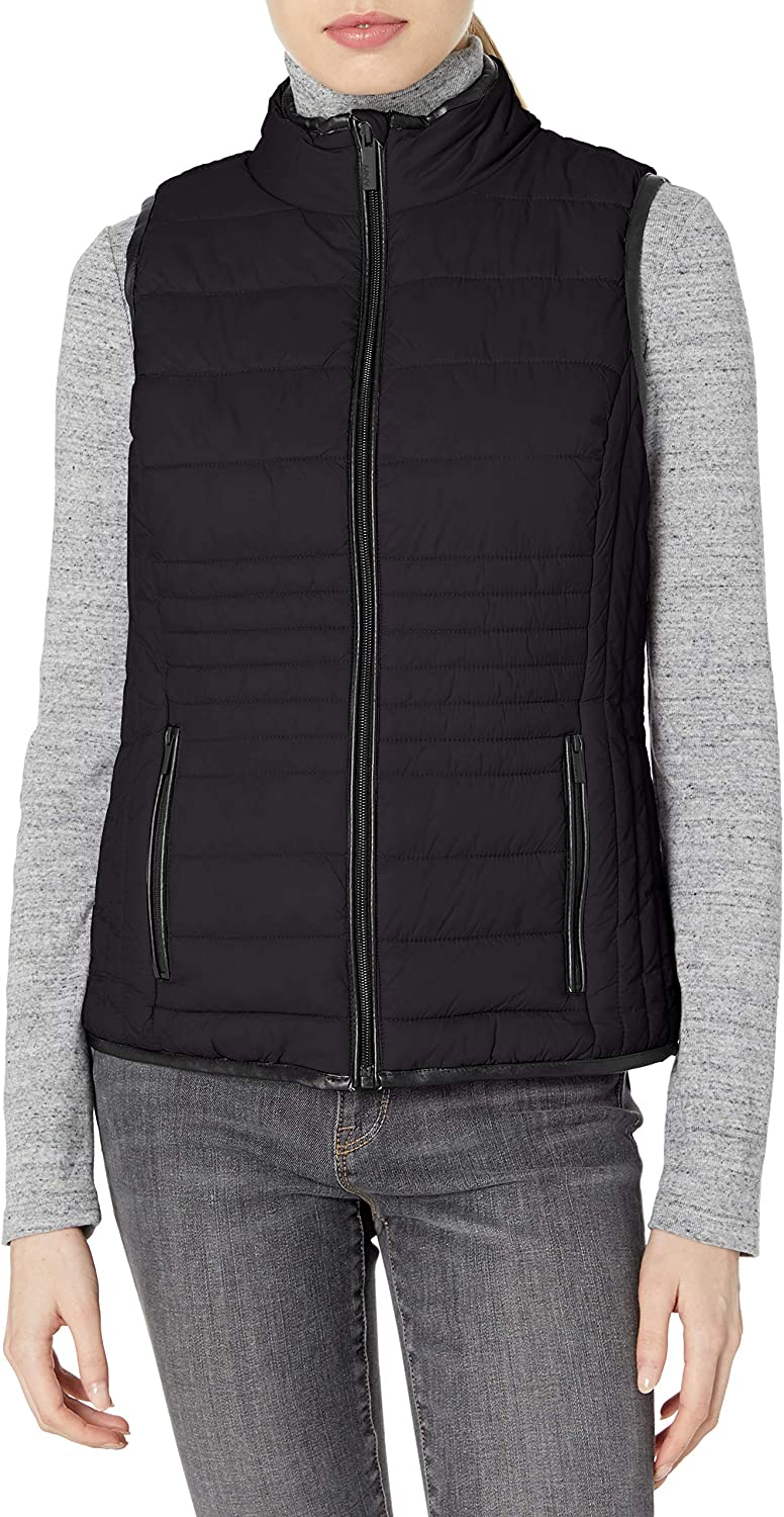 Marc New York Performance Womens Packable Vest with Faux Leather Trim