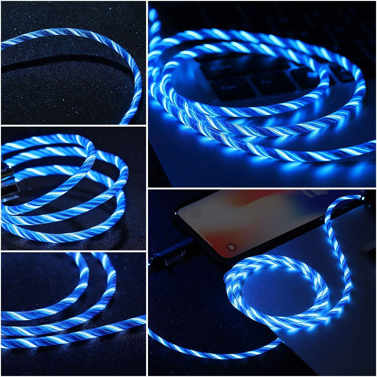 Apple MFi Certified Led iPhone Charger Cable, 2-in-1 Led Lightning Cable with 360 & Flowing Light ,3.3 ft (Blue)
