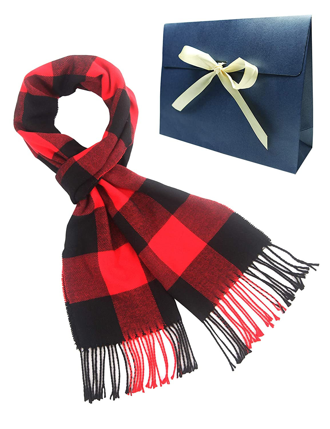 MissShorthair Mens Plaid Scarf Winter Long Scarves with Gift bag A1813C-65