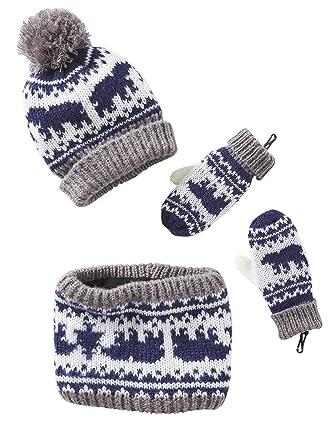 50616cc405e9 Vertbaudet Bonnet garçon + snood + moufles en jacquard MARINE GRISE 8 10 A   Amazon.fr  Vêtements et accessoires