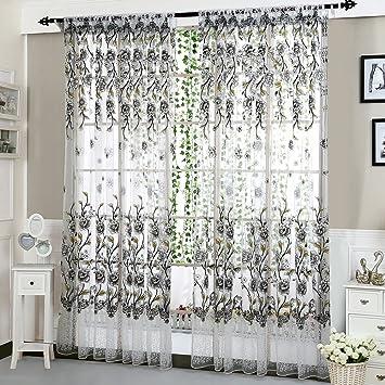 Merveilleux Kasitek Pivoine Du0027impression Voilage Rideaux De Fenêtre Voile En Tulle  Panneau Pour Le Salon