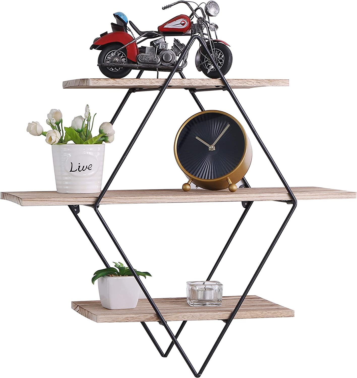 PENGKE 3 Tier Wall Floating Ledge Shelves for Home Decor,Wall Decoration Storage Shelf and Wall Mount Booke Display Rack for Bedroom and Living Room