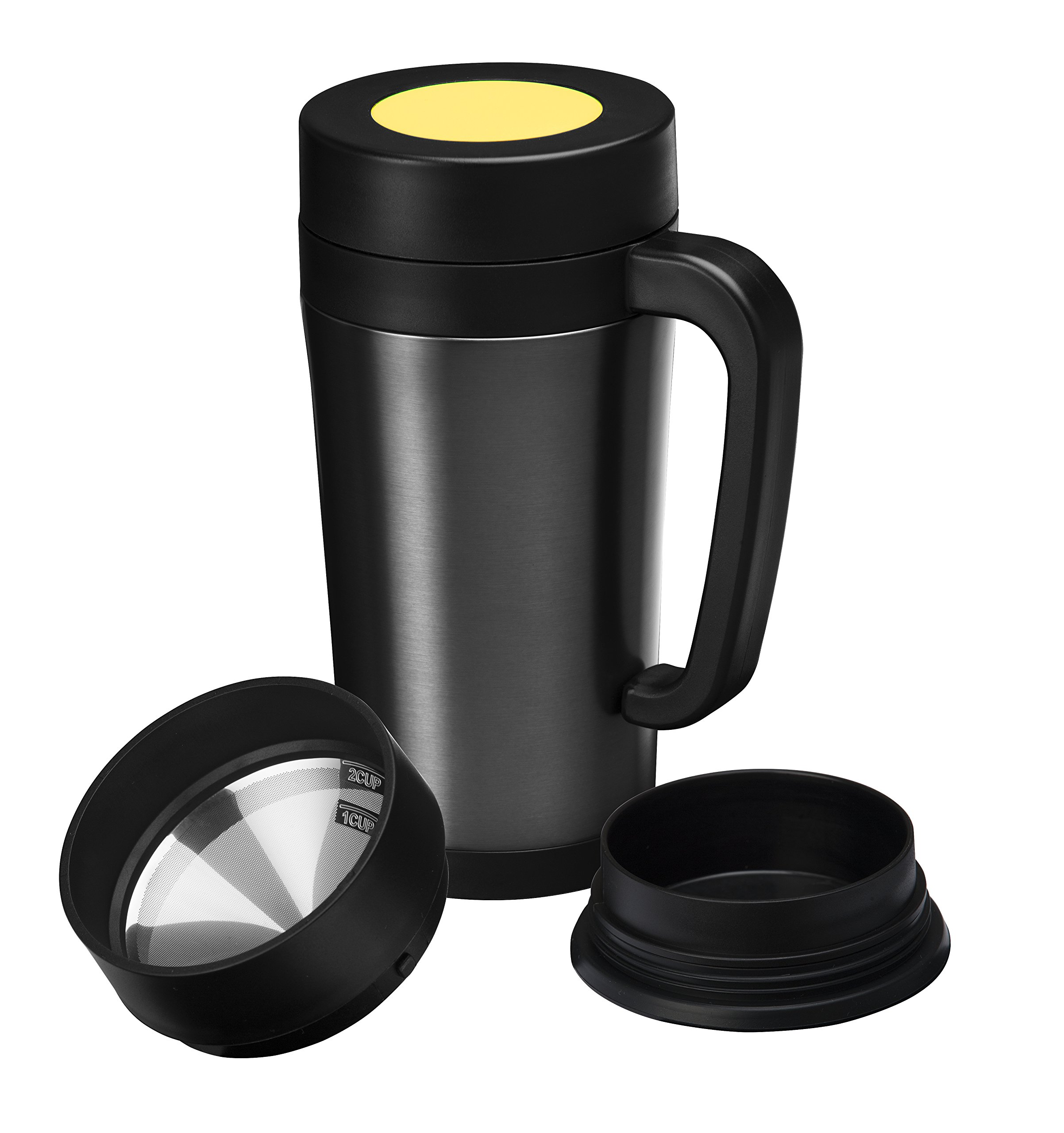 Consumer Associates Pour Over Coffee Maker Thermal Travel Mug Built-in Stainless Steel Dripper Double Walled Stainless Steel Insulation Reusable Paperless Filter