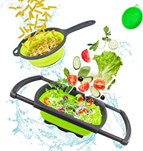 Collapsible Colander, Colanders & Food Strainers, Collapsible Strainer, Colander, Collapsible Colander Set Over the Sink with Handle, Kitchen Extendable Strainer, 2 Pack