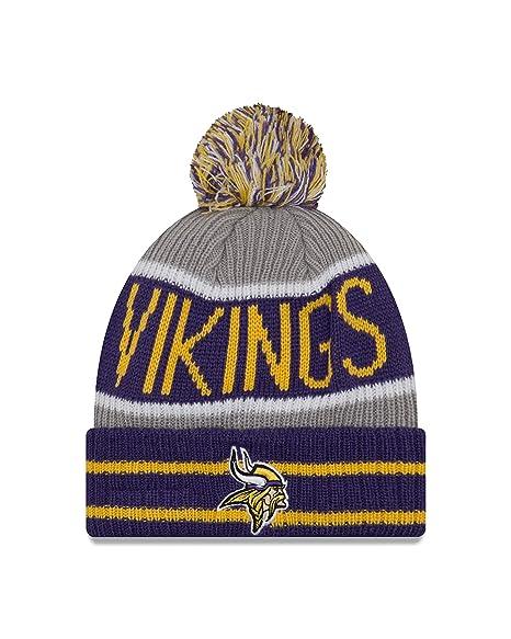 Amazon.com   New Era Minnesota Vikings Banner Block Pom Knit Hat Cap ... 55cfc351a