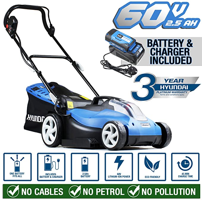 Hyundai Cordless Battery Powered Lawn Mower 38cm Cutting Width with 60V Lithium Ion Battery & Charger HYM60LI380, Blue