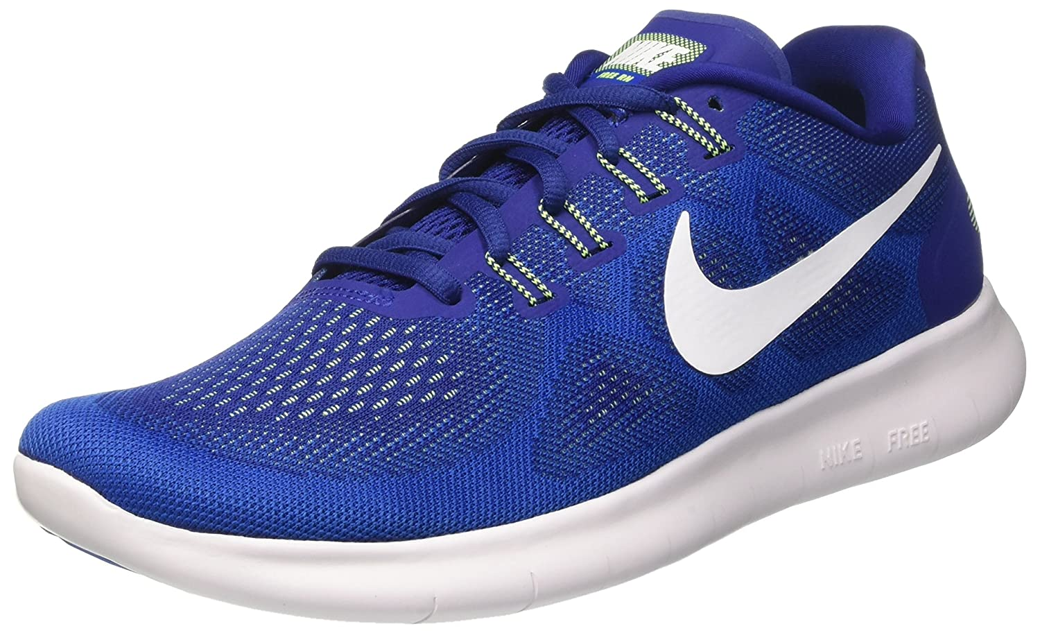 NIKE Men's Free RN Running Shoe B01JZQPUBI 8.5 D(M) US|Deep Royal Blue/White/Soar/Ghost Green