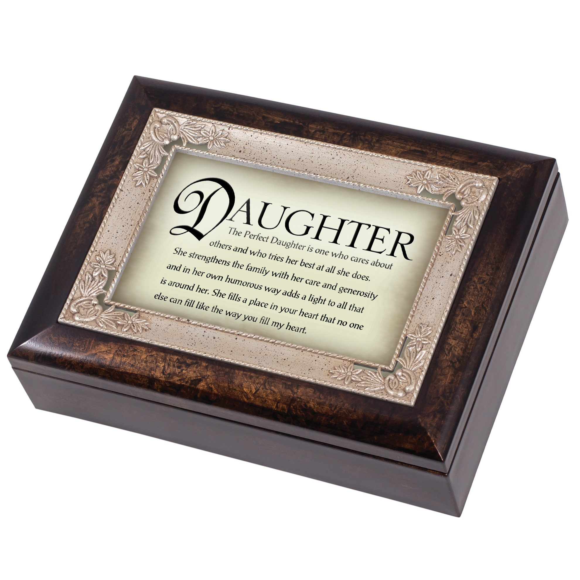 The Perfect Daughter Dark Wood Finish Jewelry Music Box Plays Tune Amazing Grace