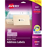 """AVERY Matte Frosted Clear Address Labels for Laser Printers, 1"""" x 2-5/8"""", 750 Labels (5630) (AVE5630)"""