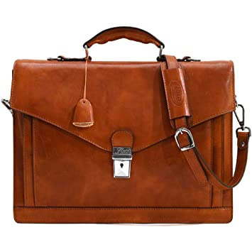 99ae74657 Amazon.com: Floto Ponza Full Grain Leather Briefcase in Olive (Honey)  Brown: Floto