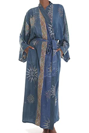 dae2d265e Image Unavailable. Image not available for. Color: NOVICA Blue Women's Batik  Long Robe ...
