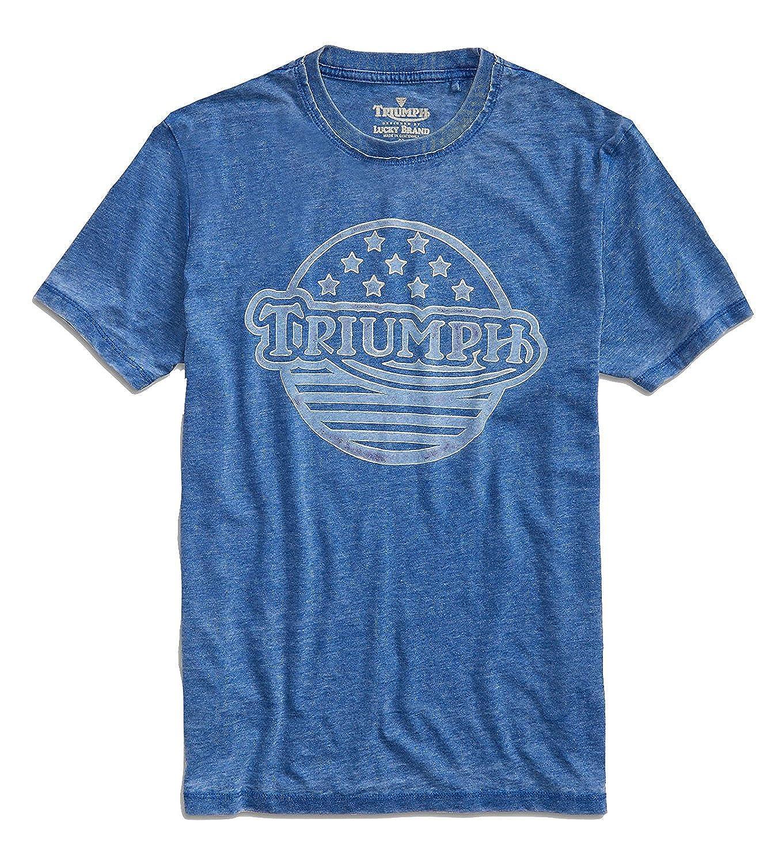 Blue Triumph Motorcycle Stars//Stripes T-Shirt Mens Lucky Brand