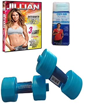 Fitness Set de dos (2) agua ejercicio pesas, Jillian Michaels principiante Shred DVD