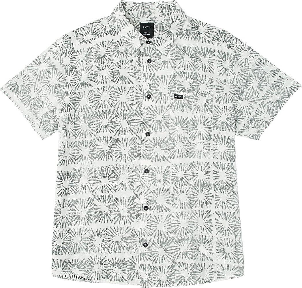 RVCA Hombre M509PRFB Manga Corta Camisa de Botones - Blanco - Small: Amazon.es: Ropa y accesorios