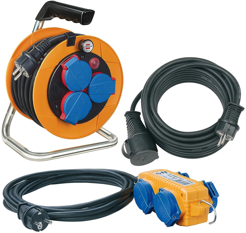 Brennenstuhl 1070150 Kit Power-Pack avec enrouleur de câble, rallonge et répartiteur électrique